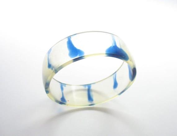 Primrose Yellow Resin Bangle Bracelet Jewelry , Sapphire Blue Stripe woman bracelet bangle marine sea Finding nemo