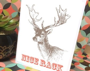 Nice Rack Boob Pun Handmade Designer Greeting Card - Humor Funny Gift Deer