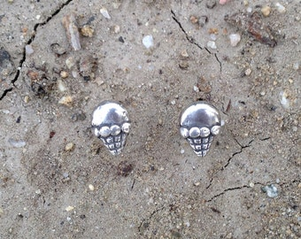 I Scream for Ice Cream Cone Fine Silver Post Stud Earrings with Sterling Silver Post and Earring Back