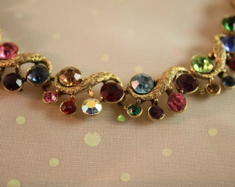 Vintage Rhinestone Colorful Necklace Rainbow Holiday Bling Gold Gorgeous
