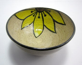 Stoneware Bowl - Ceramic Bowl- Pottery Bowl - Yellow Sunflower Flower - Cereal Bowl - Rustic Decor - Small Serving Bowl