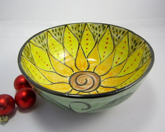 Large Ceramic Serving Bowl Yellow Lotus Flower Majolica Pottery Earthenware Clay