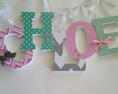 Wooden Letters, Chevron Love Theme, Baby Girl Nursery, Aqua, Pink and Grey, Personalized Decor,  Wood Name Letter,  Custom
