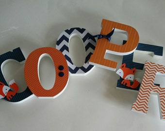 Custom Wooden Letters, Baby Boy,  Lucky Fox Theme, Fox nursery decor, Navy Blue and Orange, Woodland, Chevron, any size or font in this shop