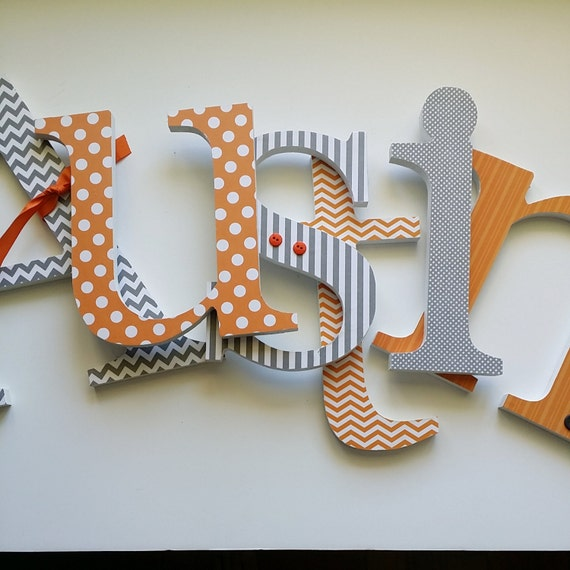 Baby boy nursery wooden letters orange and grey for Where to buy wooden letters for nursery