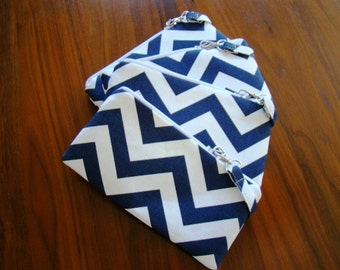 Navy Chevron Wristlet,  Bridesmaids Wristlets, Navy Custom Made Wristlets, Navy Chevron Bridesmaids Gifts,  Navy Bags, Personalized Clutch