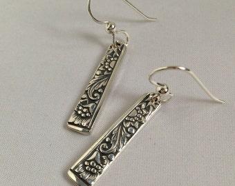 Silver Floral Dangle Earrings Vintage Silverplate Spoon Jewelry