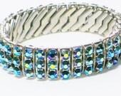 Vintage Blue Rhinestone Expandable Bracelet, Jewelry