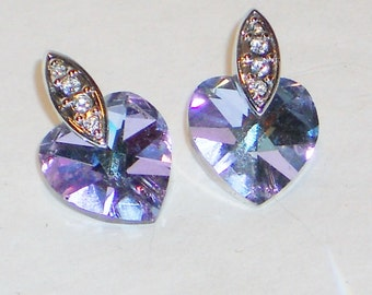 Vintage Sparkling Crystal Heart Earrings, Jewelry, Wedding