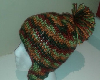 Autumn Colored Crochet Hat with Earflaps