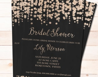 Bridal Shower invitation -Sparkle and Glam - PRINTABLE Customized and Personalized