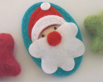 Felt hair clips, Baby girl, Hair accessories, Felt hair bows, School hair clips, Wool felt, Hair barrettes, Santa, Christmas, Girls gift