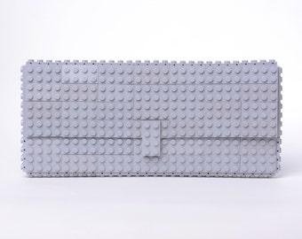 Light grey clutch purse made with LEGO® bricks FREE SHIPPING purse handbag legobag trending fashion