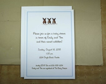 Bunny Tails Watercolor Print, Custom for Baby Shower, New Baby Announcement, Birthday Party. Customized Set of 10