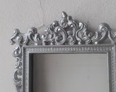 Regency Wall Mirror in Small Vintage Hand Painted Silver Frame