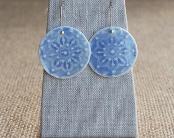 Cornflower Blue Porcelain Mandala Earrings, Mrs Peterson Pottery