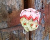 Christmas Ornament Pin Christmas Pin Upcycled Pin Recycled Bent Bottle Cap Ornament Xmas Pin  shipping included