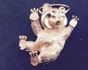 Vintage cub bear clip brooch