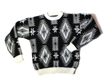 vintage sweater 80's southwestern black white clothing 1980's men oversized size l xl extra large