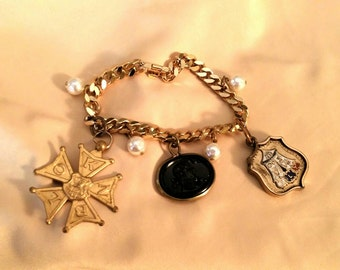 Antique watch fob bracelet with cameo