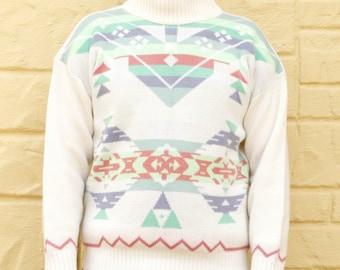 Vintage 80's Tribal Geometric Ikat Sweater Southwestern Boho Hipster Ugly sweater