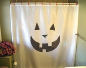 pumpkin grin Shower Curtain Halloween scare scream carve face fun scary fear horror bathroom decor kids bath curtains custom size long wide