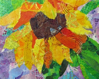 Original collage - sunflowers 2 - with handpainted papers