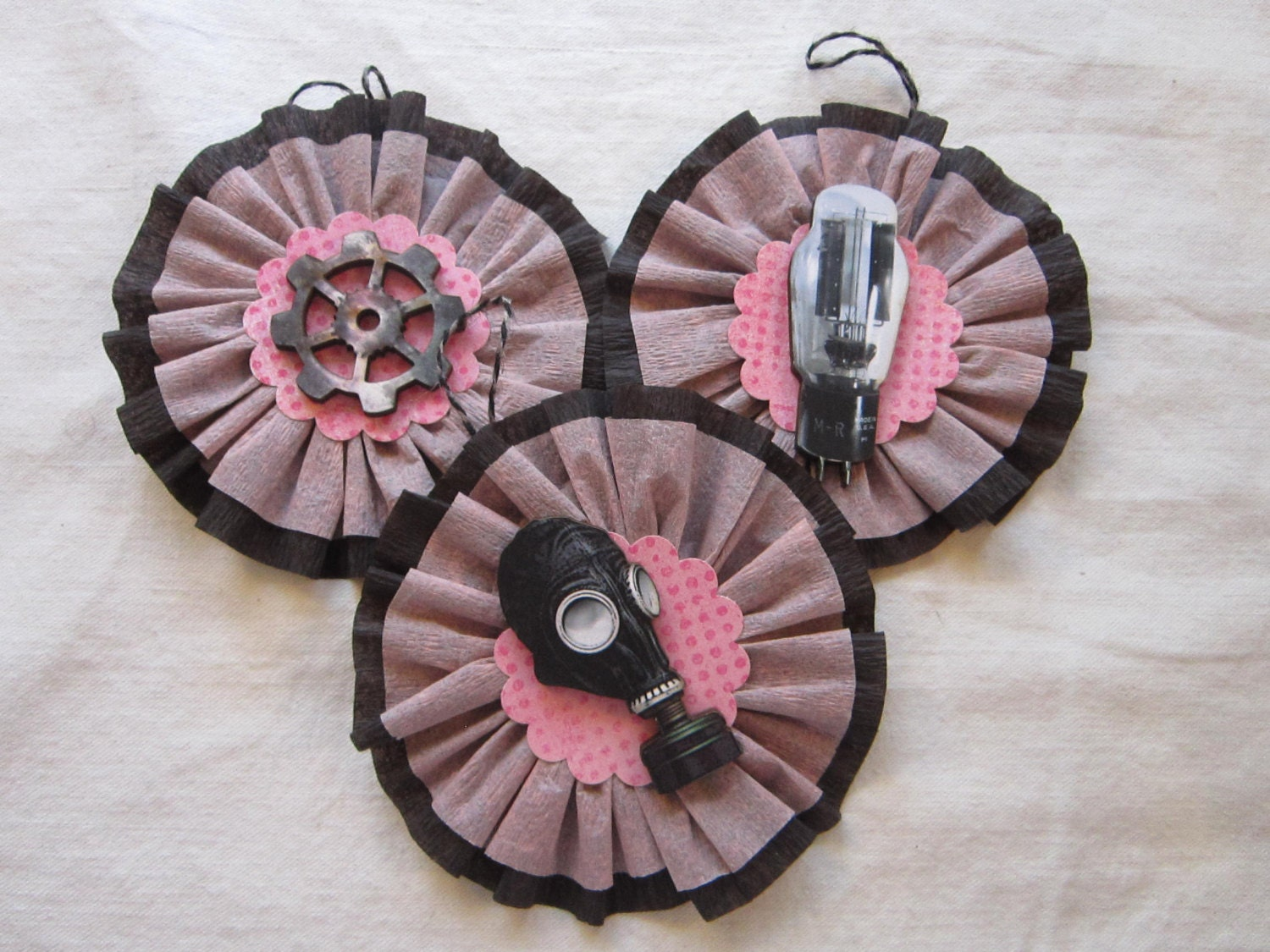 3 handmade ornaments - STEAMPUNK trio - pink and black crepe paper