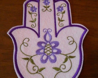 embroidered purple and green floral hamsa iron on patch