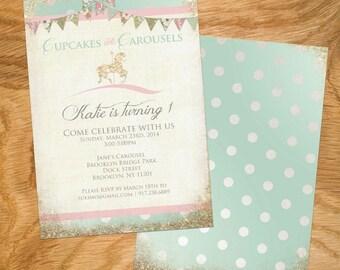 Customized Carousel Birthday Invite - Option to add Photo
