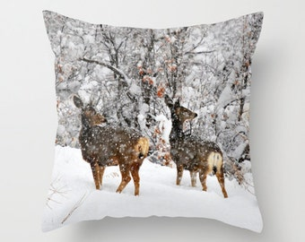 Christmas Does Pillow Cover, Throw Pillow, Deer Cabin Decor