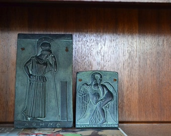vintage mid century greek mythology stone wall hangings