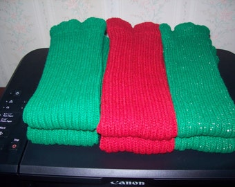 Knitted Red Legwarmers, Green Gold Acrylic Leg warmers, Dance legwarmers, Boot warmers, Excercise Warmers