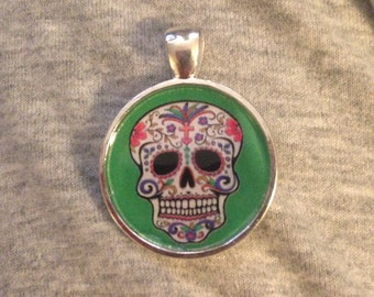 Day of the Dead Sugar Skull Pendant Necklace-FREE SHIPPING-
