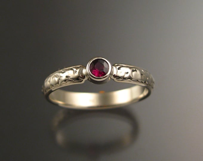 Garnet Wedding ring 14k White Gold Ruby substitute Natural Anthill Garnet Victorian bezel set stone ring made to order in your size