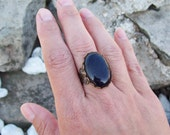 Sparkle Blue Goldstone Ring, Cabochon Ring, adjustable filigree ring, Large Gemstone Ring, Gypsy ring