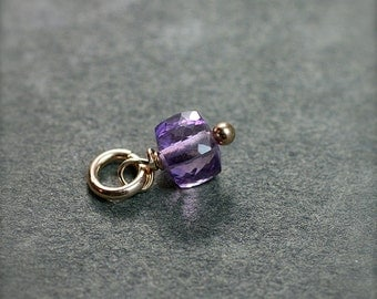 Tiny Amethyst Cube Charm, 14k Gold Filled Wire Wrapped Faceted Stone Pendant - Add a Dangle