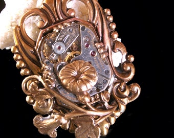 Flower Necklace Steampunk Necklace Steampunk Jewelry