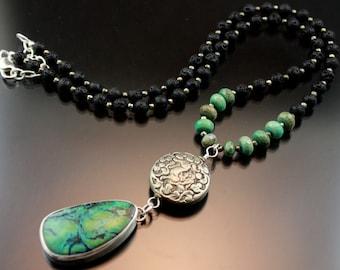 Unique Handmade Silver Jewelry, Gemstone Jewelry, Chrysocolla,Long Necklace,BOHO,Bohemian,OOAK