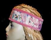 Headband Dusty Rose Pink Velvet Vintage Hmong Embroidery Birds Green Turquoise Black Purple Gypsy Peace Crown Headpiece Hair Boho Hippie