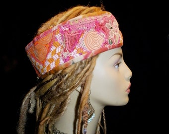 Headband Vintage Hmong Indian Embroidery Pink Orange White Coral Green Gypsy Peace Crown