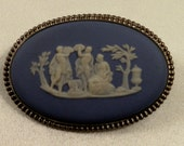 Vintage Oval Wedgwood Signed Blue Jasperware and Sterling Pin Brooch Made in England