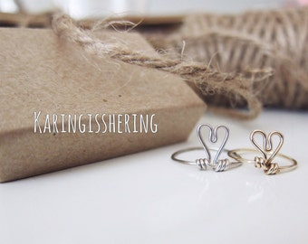Amour - Sterling Silver Wire Heart Ring - Insurance included in ALL domestic shipping!