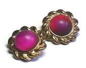 50's Gold Cabochon Flower Earrings with Bezel Set Cranberry Glass Center in Golden Floral Motif - Vintage 1950's Costume Jewelry