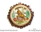 Antique Celluloid Scenic Brooch with Stag Scene with Enamel Wash in Brass Mounting marked Depose France - Circa 1910's Costume Jewelry