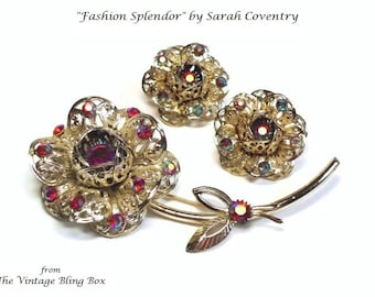 Sarah Cov Rose Flower Brooch & Earrings with Swarovski Crystals in Gold Floral Motif - Vintage 60's Emmons Designer Jewelry Sets