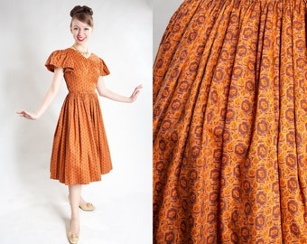 Vintage 1950s Orange Cotton Dress - Full Skirt Puffy Sleeves - Spring Fashions