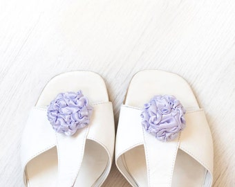 Light lavender fabric shoe clips wedding bridesmaid