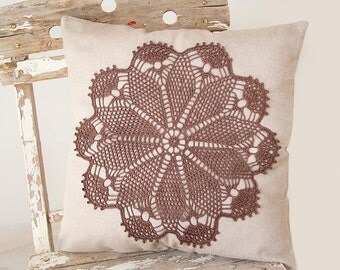 Cream Ecru Pillow Cover With Crochet brown hand dyed Doily Pillow OOAK