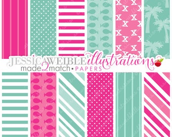 Pirate Girl Cute Digital Papers - Commercial Use OK - Pink Pirate Backgrounds, Pink Pirate Papers